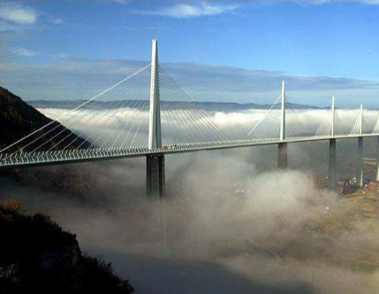 The Millau bridge over the River Tarn in the Massif Central mountains
