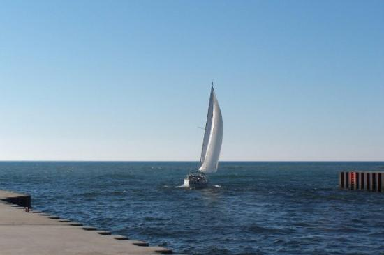 Whitehall, MI: Channel into Lake Michigan, near White Hall, MI
