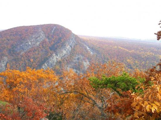 Delaware Water Gap, PA: Deleware Water Gap from PA side in Fall.