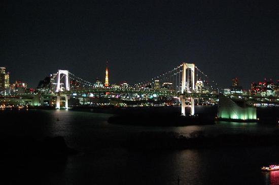 Hilton Tokyo Odaiba: 部屋からの夜景。ベッドに寝転んでもこの景色が見られます。