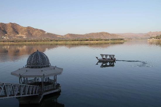 The Leela Palace Udaipur: The jetty and the boat to take us to the hotel