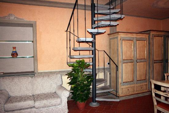 Firenze Suite: The stairway leading upstairs in the suite.