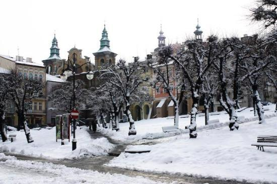 Przemysl, Poland: City center in snow