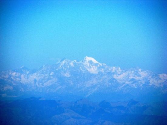 Chandigarh, India: Himalayas from an airplane window.