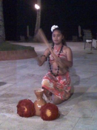 Palau Pacific Resort: my little sis dancing during valentines day dinner at a hotel.