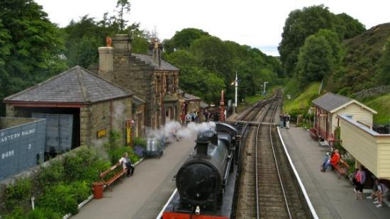 Steam train. Goathland railway station, Yorkshire, England. Also known as Aidensfield railway st