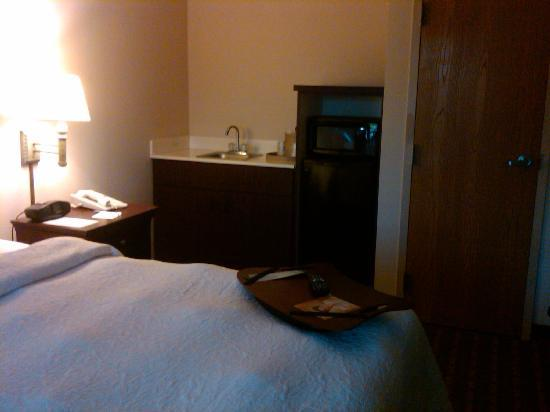 Hampton Inn Melbourne : small sink, microwave, and fridge