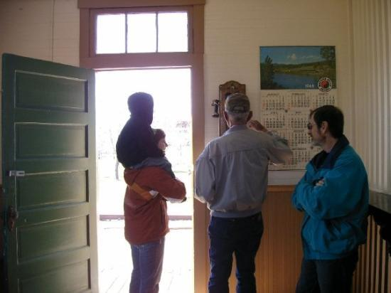 Big Horn County Historical Museum: Checking out the old phone in the train station.