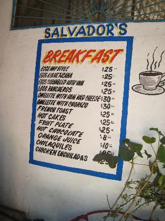 Salvador's: Breakfast menu