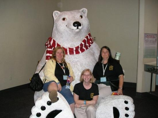 World of Coca-Cola: Pam, Kate, Sally with the Coca-Cola polar bear