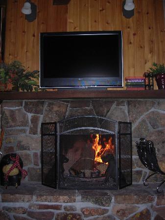 Beaverhead Condos: Wood-burning fireplace and TV