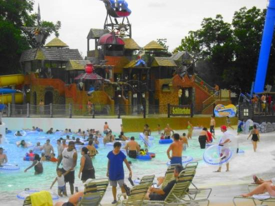 Schlitterbahn New Braunfels Waterpark: I wish you could see that fort in the back better!  It is awsome!  Megan and Bella rode the wate
