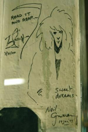 Powell's City of Books: Neil Gaiman's signature on a post in Powell's Books in Portland
