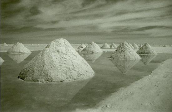 Tupiza, Bolivia: Piles of salt at Salar de Uyuni, Bolivia. By Cale