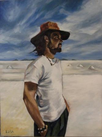 Tupiza, Bolivia: Oil painting I did of Cale in the salt flats of Bolivia.