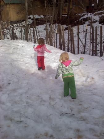 Our two year olds their first time in snow. Just enough snow for them
