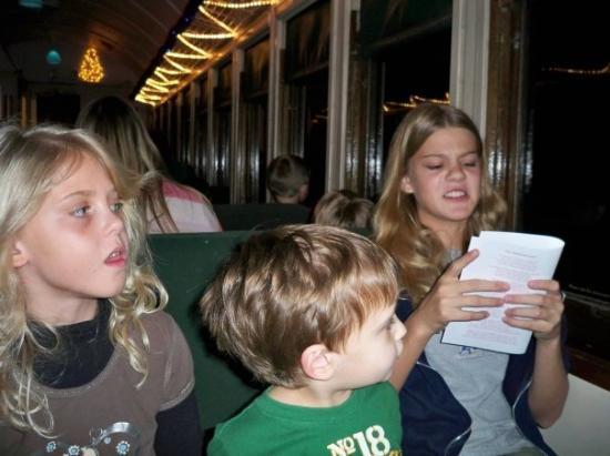 Flagstaff, AZ: Kristen really got into the singing! - Grand Canyon Railway - Polar Express!