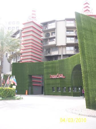 Yes, that is fake grass on the building