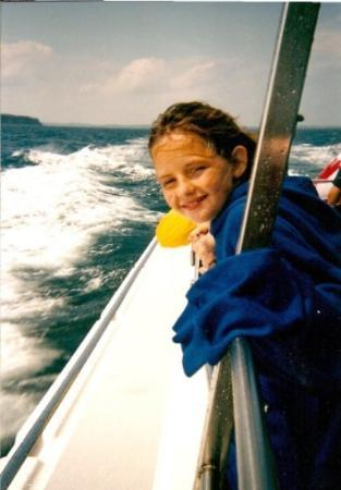my grand daughter Alli..whale watching in Lunenburg, Nova Scotia-2003