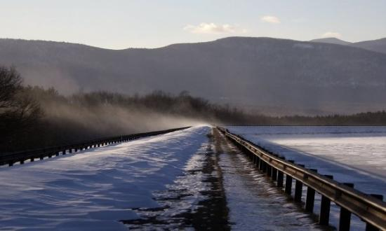Blowing Snow over Ashokan Dam