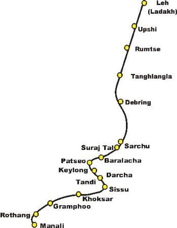 Leh, India: Another map of my journey 2011, Tanghlang La is 18,00 ft above sea level, That is the level that