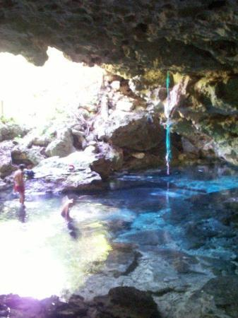 Inside Pool Cave a natural pool inside a small cave. crystal clear water. - picture