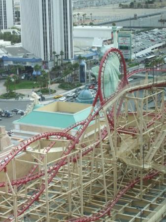 The Big Apple Coaster & Arcade: rollercoaster outside our room, not so fun in the morning