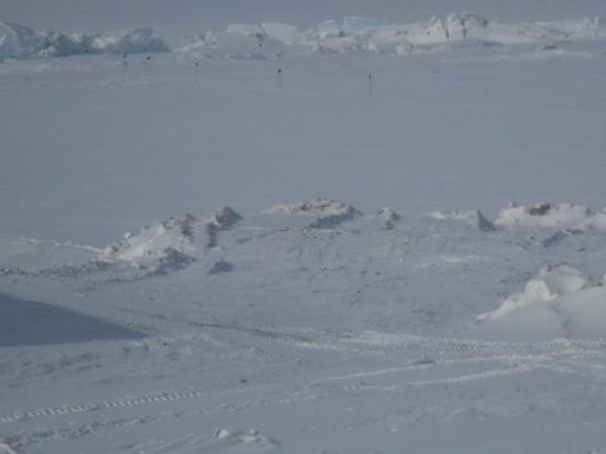 McMurdo Station: pictures of the pressure ridges.  This is when the sea ice blows in and the ice buckles essensia