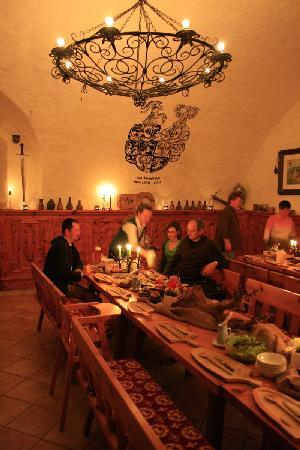 Hotel Schloss Thannegg: guests gathering for the Medieval Dinner.