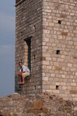 Thessaloniki, Hellas: my thinking spot found in this castle tower on one of the Greek Ionian Islands, Summer 2006.