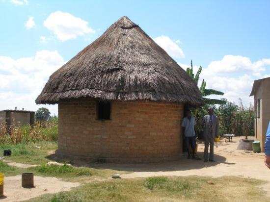 Harare, Zimbabwe: Typical rural Zimbabwe home. Actually this portion is the kitchen.