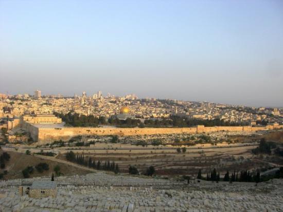 Oljeberget: Tag 39 - Do 21. Mai - Jerusalem, die Schöne, räkelt sich in der Morgensonne. Sie wandert stetig