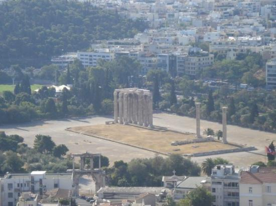 A view of  'The Temple of Olympian Zeus' from the top of 'The Acropolis of Athens'