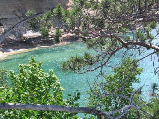 Pictured Rocks National Lakeshore: Looking down at Miner's Beach - Lake Superior