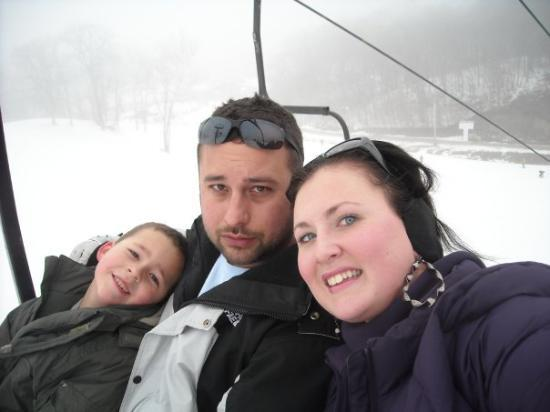 Weston, MO: Aw all three of us on the ski lift...we love it!