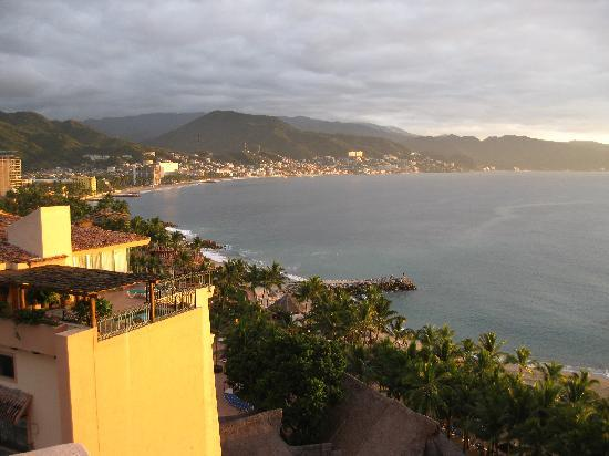 Friendly Vallarta All Inclusive Family Resort: sunset light on the city... from our room.