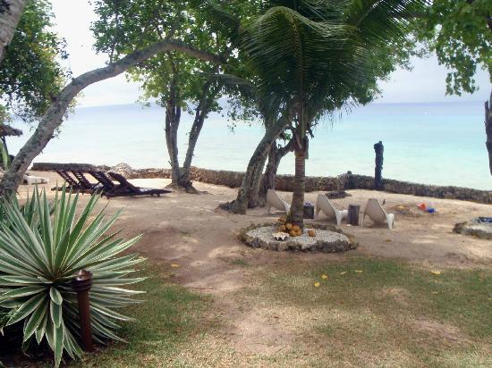 Paradise Cove Resort: View of the beach area and the reef beyond