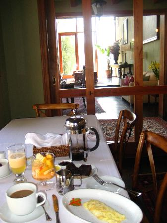 Santiago Hillside Hotel: delicious breakfast and living room view..