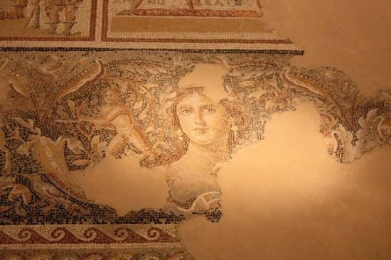 Nasaret, Israel: The Mona Lisa of Zippori at the traclinium & colonnaded courtyard of a spectacular Roman mansion