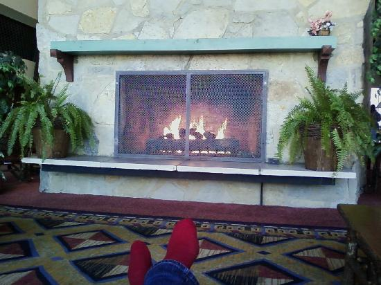 Hueston Woods Lodge and Conference Center: fireplace in lobby