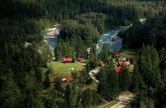 An aerial view of Grizzly Bear Ranch