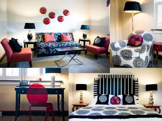 The King's Daughters Inn : The Austin Suite with red accents, a king bed and queen bed
