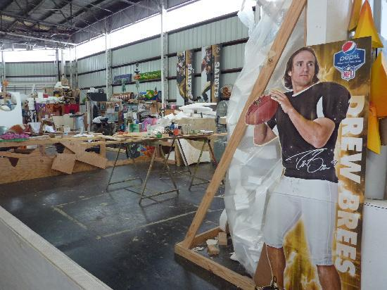Le Pavillon Hotel: Mardi Gras World where they were getting the SuperBowl Football ready for the float.. Drew Brees