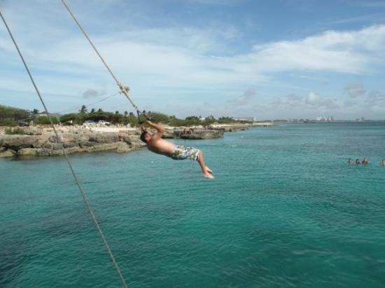 Oranjestad, Aruba : Ryan on the Rope Swing