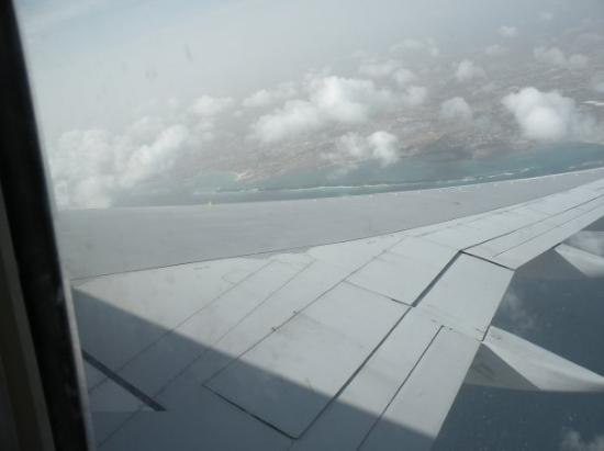 Oranjestad, Aruba : you can see our little private beach off of the Aruba mainland as we took off and circled around