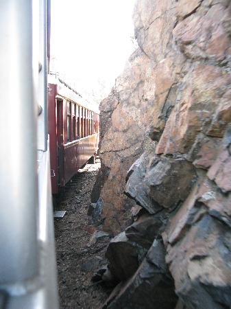 Durango and Silverton Narrow Gauge Railroad and Museum: Travelling close the rocks (not dangerous, just close)