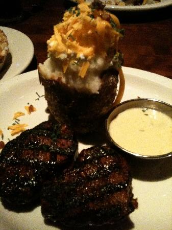 J Alexander's: Butterflied filet mignon with bernaise sauce and loaded baked potato