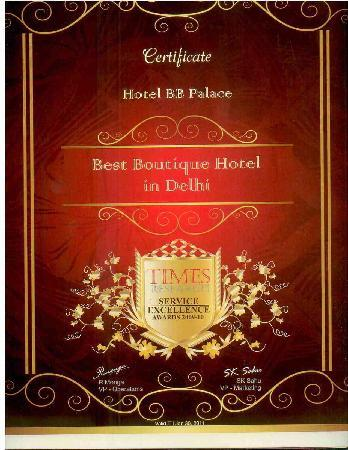 Hotel BB Palace: Awarded the best boutique hotel in delhi by times research