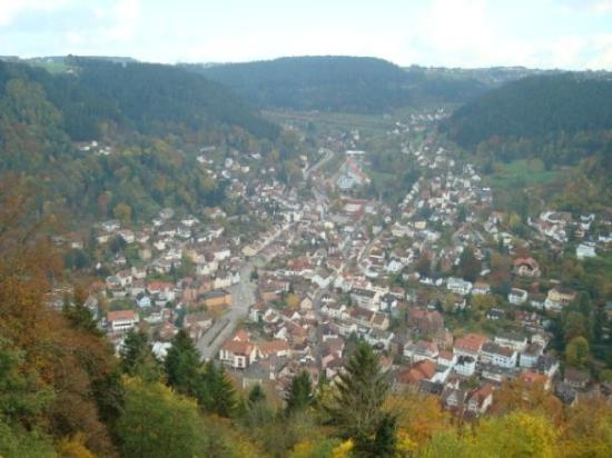 The valley of Schramberg, Germany as seen from castle far above the city