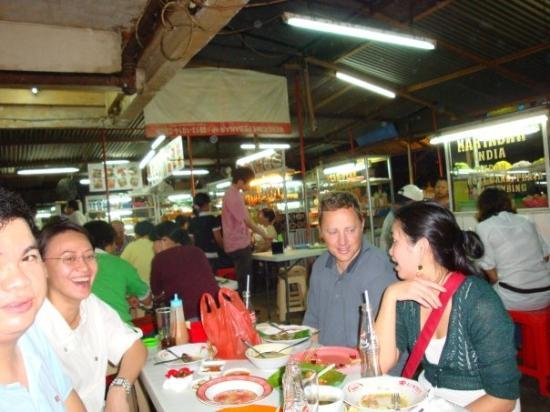 """Dinner at a local """"restaurant"""" in Jakarta.  Actually a bunch of kiosks where the waiters each br"""